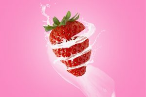 strawberry with milky splashes